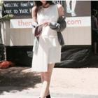 Sleeveless Pleated Dress White - One Size