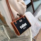Lettering Canvas Panel Crossbody Bag