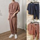 Set: Striped Elbow-sleeve Shirt + Harem Pants