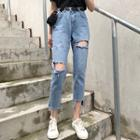 Cutout Slim-fit Crop Jeans