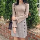 Frilled Bell-sleeve Sweater In 5 Colors