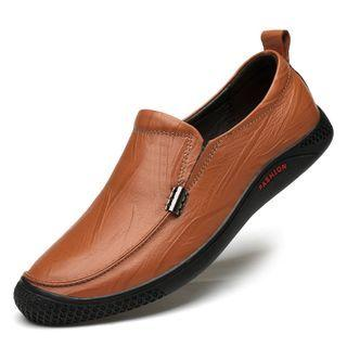 Genuine-leather Round-toe Casual Shoes