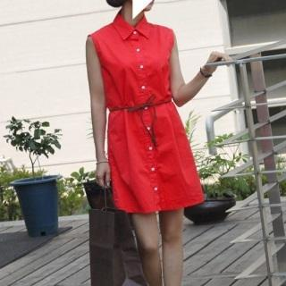 Sleeveless Shirtdress With Cord