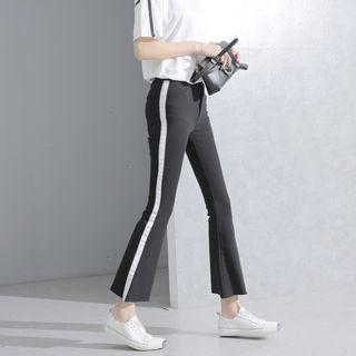 Cropped High-waist Boot-cut Pants