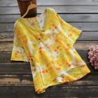 Short-sleeve Printed Side-tie Top