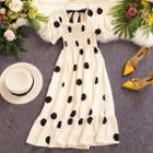 Tie-back Frilled Dotted Printed Dress