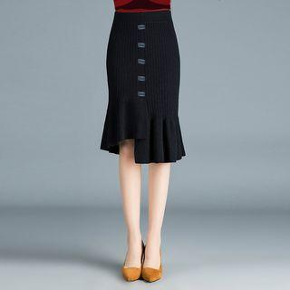 Buttoned Mermaid Knit Skirt As Shown In Figure - One Size