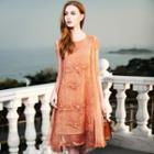 Mock Two-piece Embroidered Elbow-sleeve Dress