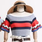 Ruffled-cuff Colorblock Knit Top