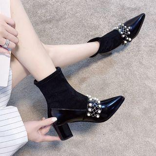Faux Pearl Pointy-toe Chunky-heel Short Boots / Tall Boots