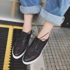 Genuine-leather Paneled Hidden-heel Sneakers