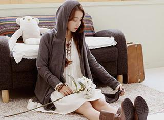 Hooded Open-front Long Cardigan
