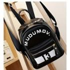 Lettering Faux-leather Mini Backpack