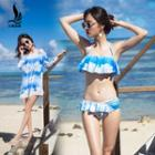 Set: Ruffle Printed Bikini + Cover