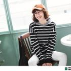 Striped Panel Hooded Top