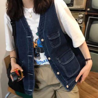 Pocket Detail Denim Vest Denim Blue - One Size