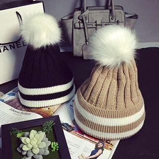 Furry Ball Striped Cable Knit Beanie
