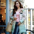 Lace Panel Printed Hooded Padded Coat