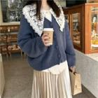 V-neck Cardigan / Crochet Lace Panel Shirt
