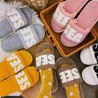 Fluffy Lettering Slide Slippers (various Color)