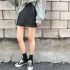 A-line Faux-leather Mini Skirt