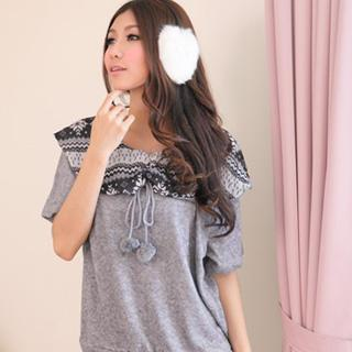 Snowflakes Panel Short-sleeve Top