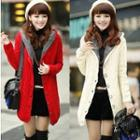 Cable Knit Hooded Buttoned Coat