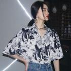 Printed Elbow-sleeve Shirt Shirt - One Size