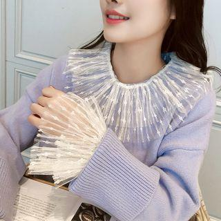 Collared Bell-sleeve Lace Top
