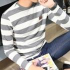 Fleece Lined Striped Long-sleeve T-shirt