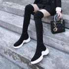Suede Back Zippers Over-the-knee Platform Hidden Wedge Boots