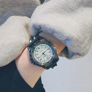 Oversized Striped Print Strap Watch
