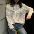Ruffled Dotted Long-sleeved Blouse