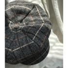 Checked Wool Blend Beret One Size