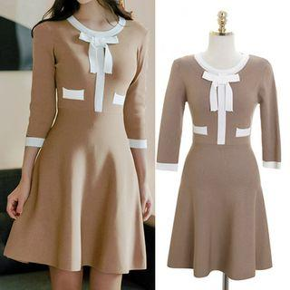 Color Block 3/4-sleeve Knitted A-line Dress Khaki - One Size
