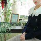 Leaf Embroidered Cable-knit Cardigan