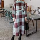 Set: Plaid Sweater + A-line Midi Knit Skirt
