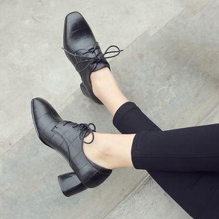 Croc-grain Lace-up Block Heel Oxfords