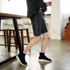 Letter-trim Distressed Denim Shorts