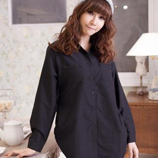 Ruched-side Dual-pocket Long Blouse