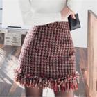 Fringe-hem Tweed Mini Pencil Skirt