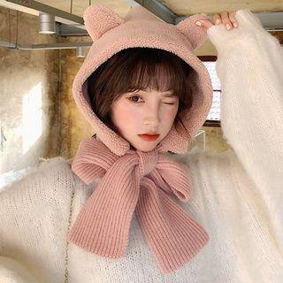 Chenille Cat Ear Hooded Neck Scarf