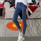 Fringed-hem Skinny Jeans