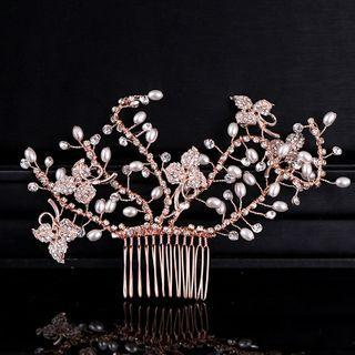Bridal Faux Pearl Rhinestone Flower Hair Comb Clip Rose Gold - One Size