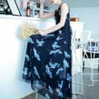 Crane Print Sleeveless Maxi Chiffon Dress