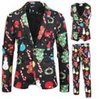 Set: Xmas Printed Blazer + Vest + Dress Pants