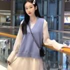 Long-sleeve Midi Mesh Dress / V-neck Knit Vest