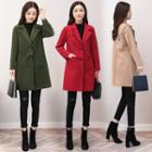 Embroidered Buttoned Woolen Coat