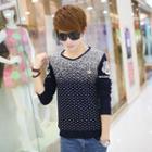 Long-sleeve V-neck Patterned Sweater