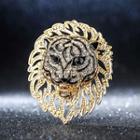 Rhinestone Lion Brooch